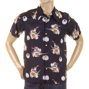 RMC Martin Ksohoh Regular Fit Human Head Bird Body Navy Printed Short Sleeve Shirt for Men REDM0908