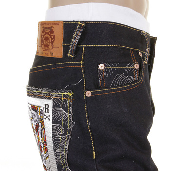 RMC Martin Ksohoh Poker Dark Indigo 1001 Model Raw Denim Super Exclusive Design Slim Jeans REDM2268