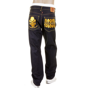 RMC Martin KsohohEmpire Cyber Monkey 1001 Model Slimmer Cut Denim Jeans with Gold Embroidery REDM1148
