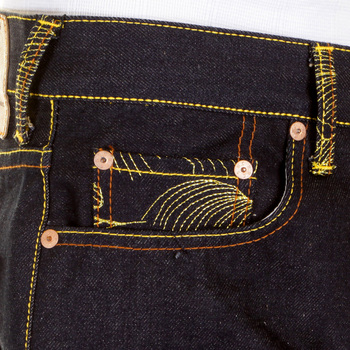 RMC Martin Ksohoh Silver Embroidered  Empire Cyber Monkey 1001 Model Slimmer Cut Raw Denim Jeans REDM1146