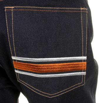 RMC Martin Ksohoh MKWS Model 1001 Burnt Orange Skull and Crossbones Raw Denim Slim Fit Jeans REDM1153