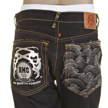 RMC Silver Logo and Tsunami Wave Dark Indigo Slimmer Cut 1001 Model Raw Selvedge Denim Jeans REDM0239