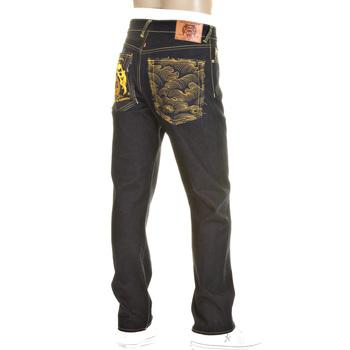 RMC Yellow Logo and Tsunami Wave Dark Indigo Slimmer Cut 1001 Model Raw Selvedge Denim Jeans REDM0176