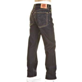 RMC Charcoal Tsunami Wave and Logo  Dark Indigo Slimmer Cut 1001 Model Raw Selvedge Denim Jeans REDM0238