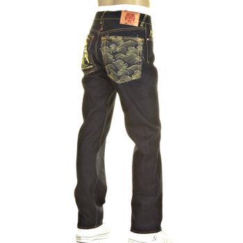 RMC Slimmer Cut Model 1001 and Tsunami Wave Gold Logo Dark Indigo Selvedge Raw Denim Jeans REDM0240