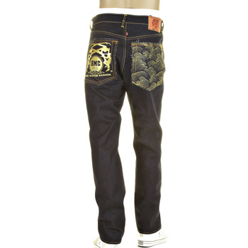 RMC Tsunami Wave and Gold Logo Cut 1001 Model Dark Indigo Slimmer Raw Selvedge Denim Jeans REDM0240