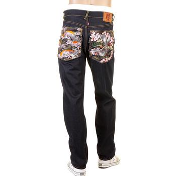 RMC Martin Ksohoh Japanese Garden Embroidered Dark Indigo Slimmer Cut 1001 Raw Denim Jeans REDM0465