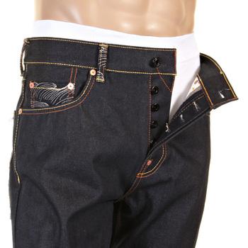 RMC Martin Ksohoh Happiness Embroidered RQP11058 Slim Cut 1001 Dark Indigo Raw Selvedge Denim Jeans REDM0466