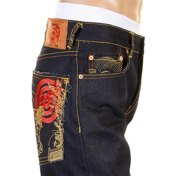 RMC Jeans Japanese Art Embroidered Dark Indigo 1001 Slimmer Cut Model Raw Selvedge Denim Jeans REDM0464