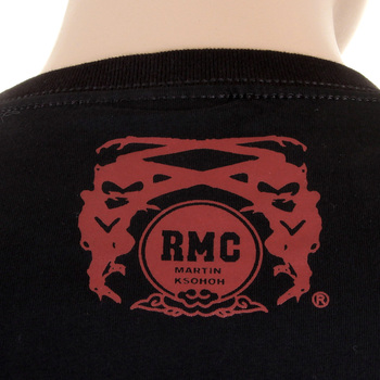 RMC Regular Fit Crew Neck Smoking Skull and Crossbones Printed T-Shirt in Black REDM2092