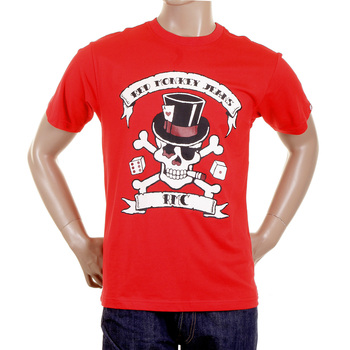 RMC Crew Neck Regular Fit Short Sleeve Smoking Skull and Crossbones Printed T Shirt in Red REDM2090