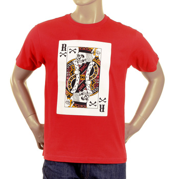 RMC Martin Ksohoh Red Short Sleeve Crew Neck Skull Poker Playing Card Printed Red T Shirt REDM2088