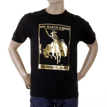 RMC Jeans Black Regular Fit Short Sleeved Crewneck T-Shirt with Gold Foil Cowboy Rodeo Print REDM2089