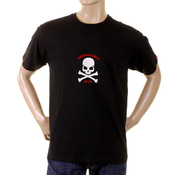 RMC Jeans Short Sleeve Black Crew Neck T-Shirt with Flock Printed White Skull and Crossbones REDM2116
