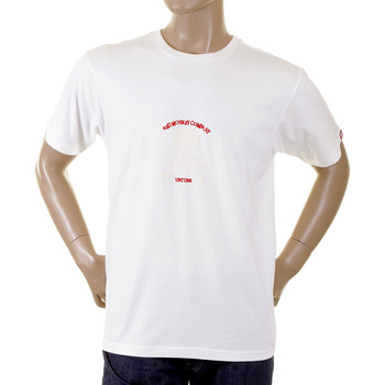 RMC White Short Sleeve Crew Neck T-Shirt with Flock Printed Ivory Skull and Crossbones REDM2121