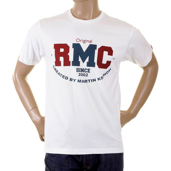 RMC Jeans Mens Short Sleeve Navy RQT1049 Regular Fit Cotton Vintage Crewneck T-Shirt REDM2095