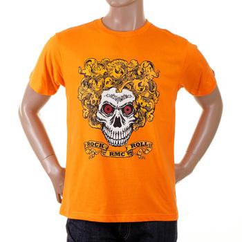 RMC Martin Ksohoh Regular Fit Short Sleeve Orange Crew Neck Rock and Roll Skull Printed T-Shirt REDM2093
