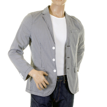 RMC Martin Ksohoh MKWS Mens Black and White Fine Checked Slimmer Fit Cotton Lightweight Jacket REDM2291