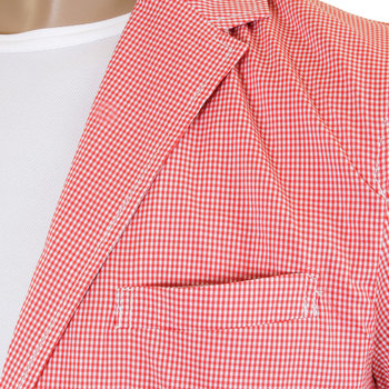 RMC Martin Ksohoh MKWS Mens White and Red Checked Slimmer Fit 100% Cotton Lightweight Jacket REDM2288
