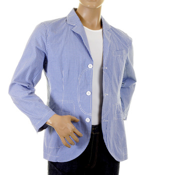 RMC Martin Ksohoh MKWS Mens Blue and White Small Checked Cotton Lightweight Jacket REDM2286