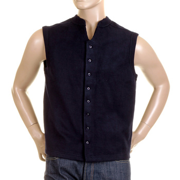 RMC MKWS Navy Blue Button Through Regular Fit Sleeveless Plush Fleece Mens Jacket Gillet REDM2350