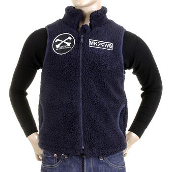 RMC MKWS Navy Blue Papamamson Zip Up Regular Fit Sleeveless Plush Fleece Mens Vest Gillet REDM5827