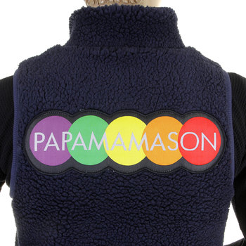 RMC MKWS Navy Blue Plush Fleece Sleeveless Regular Fit Papamamason Vest Gillet for Men REDM5827