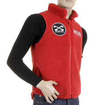 RMC Martin Ksohoh Red Plush Fleece Sleeveless Regular Fit Papamamason Vest Gillet for Men REDM5828