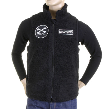 RMC Martin Ksohoh Black Papamamson Zip Up Regular Fit Sleeveless Plush Fleece Mens Vest Gillet REDM5829