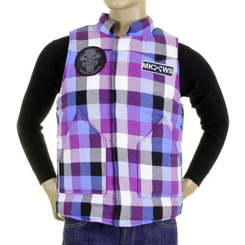 RMC Martin Ksohoh Mens Down Filled Regular Fit Purple and Blue Check Padded Gilet REDM5837