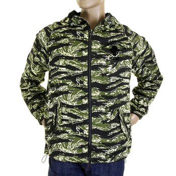 RMC Jeans Regular Fit Green Tiger Camo RQZ1084 Hooded Windbreaker Jacket for Men with Zip Front Closure REDM2302A