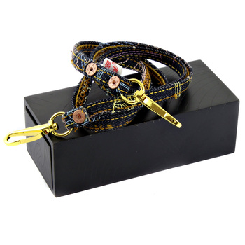 RMC Jeans Toyo Lanyard RQA11005 Embroidered Denim Strap Key Chain Presented In Hand Crafted Wooden Box REDM0484