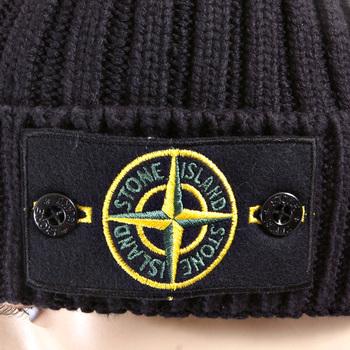 Stone Island Beanie Hat navy roll beanie hat 5515N01D5 SI2758 at ...