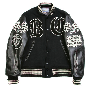 Sugar Cane Mens WV11375 Black Raglan Sleeve Regular Fit Crank Busters Letterman Jacket WHIT3781