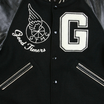 Whitesville Mens WV11376 Black Body Black Raglan Sleeve Good Timers Regular Fit Varsity Jacket WHIT3782A