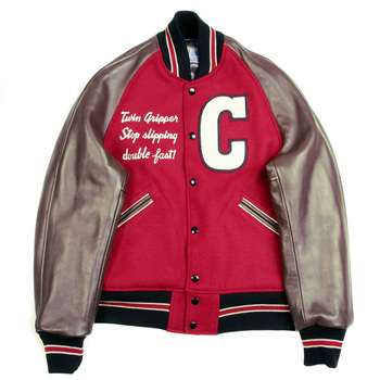 Sugar Cane Mens WV11376 Whitesville Red and Brown Regular Fit Raglan Sleeve Letterman Cats Paw Jacket WHIT3783