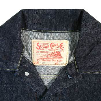 Sugar Cane Mens SC11962A Regular Fit One Wash Vintage Cut Western Style Denim Jacket CANE9034