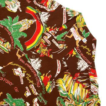 Sun Surf Mens SS33324 Hawaiian Brown Regular Fit Short Sleeve Cuban Collar Shirt with History of the Islands Print SURF9049