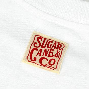 Sugar Cane Mens SC73438 White tubular knit Crew Neck Regular Fit T-Shirt with Signature Logo CANE9031