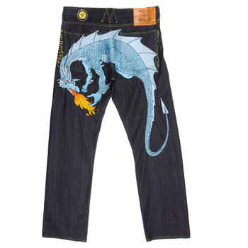 Yoropiko Sky Blue Hungry Dragon Exclusive Vintage Cut Raw Selvedge Limited Edition Denim Jeans YORO3684