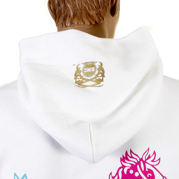 RMC Jeans Mens Large Fit RWC141264 White Overhead Hooded Sweatshirt with Multicolour Toy Friend Print REDM0893