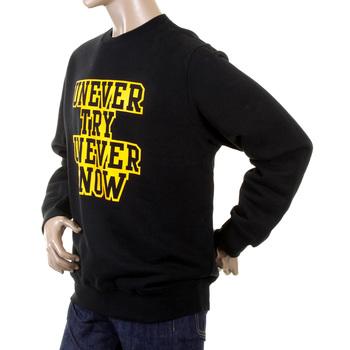 RMC Martin Ksohoh Black Crew Neck Large Fitting RWC141264 Sweatshirt with Yellow on Black UNTUNK Print REDM0647