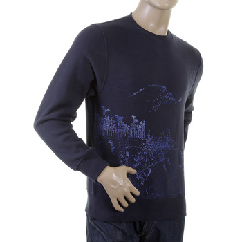 RMC Martin Ksohoh Navy Blue Crew Neck Large Fitting RWC141161 Sweatshirt with Toyo Story Mountain Print REDM0945