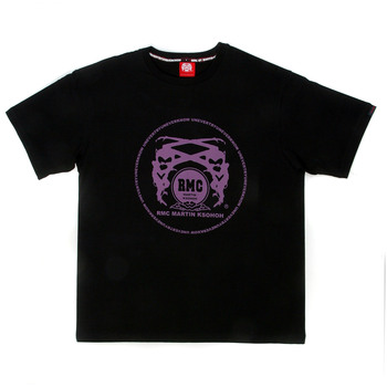 RMC Martin Ksohoh Regular Fit Short Sleeve Crew Neck Black T Shirt with Purple Logo Print REDM0095