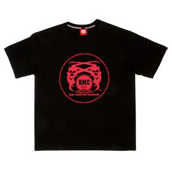 RMC Martin Ksohoh Regular Fit Short Sleeve Crew Neck Black T Shirt with Red Logo Print REDM0099