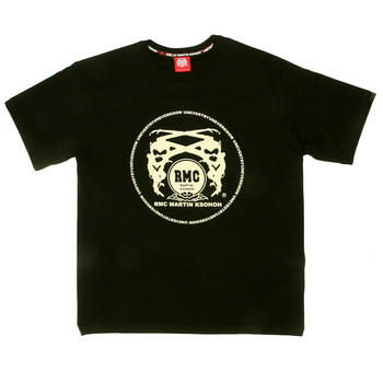 RMC Martin Ksohoh Off White Logo Printed Black Crew Neck Short Sleeve Regular Fit T Shirt REDM0108