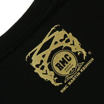 RMC Martin Ksohoh Yellow Logo Printed Black Crew Neck Short Sleeve Regular Fit T Shirt REDM0110