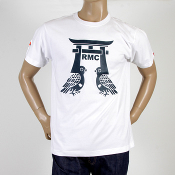 RMC Jeans Regular Fit RQT11065 Crewneck Short Sleeved Pigeon White T-Shirt with Navy Pigeon Print REDM0