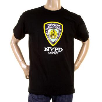 RMC Martin Ksohoh Regular Fit RQT11066 Crew Neck Short Sleeve Black T Shirt with Denim Department Print REDM0996