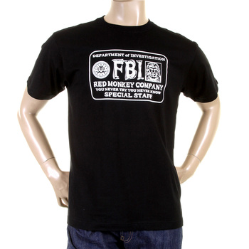 RMC Jeans Black Ribbed Crewneck Regular Fit RQT11067 Short Sleeve FBI Printed Cotton T-Shirt REDM0993
